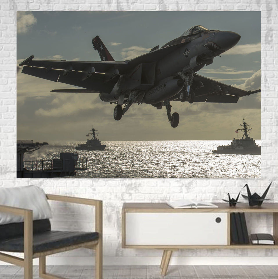 Deparing Jet from Sea Base Printed Canvas Posters (1 Piece) Aviation Shop