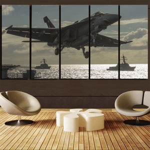 Deparing Jet from Sea Base Printed Canvas Prints (5 Pieces) Aviation Shop