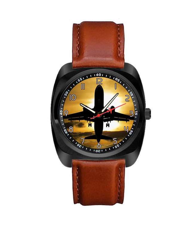 Departing Passanger Jet During Sunset Designed Luxury Watches