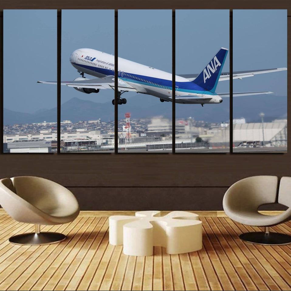 Departing ANA's Boeing 767 Printed Canvas Prints (5 Pieces) Aviation Shop