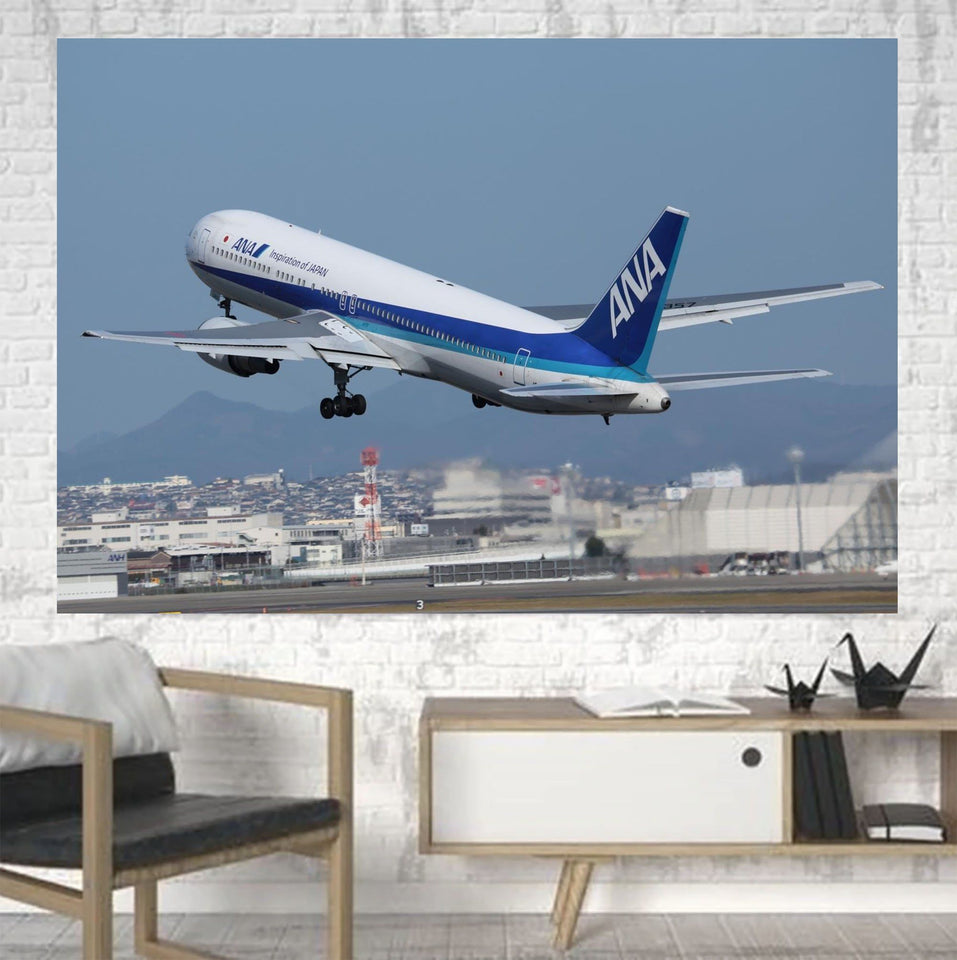 Departing ANA's Boeing 767 Printed Canvas Posters (1 Piece) Aviation Shop