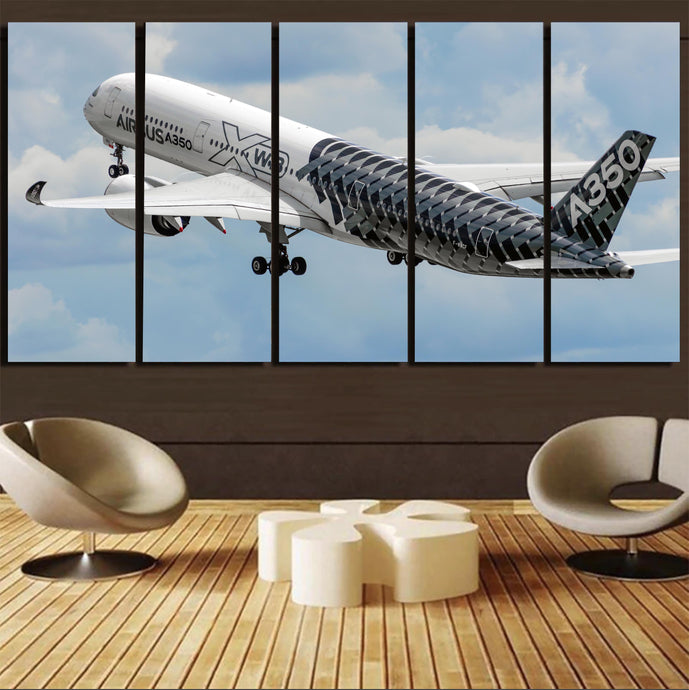 Departing Airbus A350 (Original Livery) Printed Canvas Prints (5 Pieces)