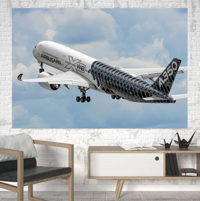 Departing Airbus A350 (Original Livery) Printed Canvas Posters (1 Piece)