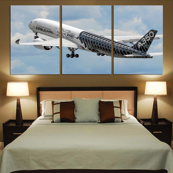 Departing Airbus A350 (Original Livery) Printed Canvas Posters (3 Pieces)