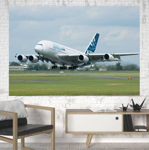Departing Airbus A380 with Original Livery Printed Canvas Posters (1 Piece) Aviation Shop