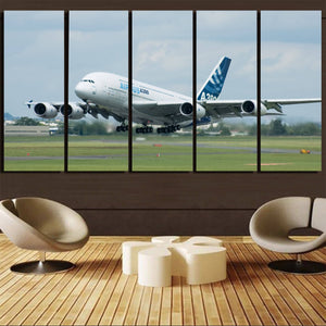 Departing Airbus A380 with Original Livery Printed Canvas Prints (5 Pieces) Aviation Shop
