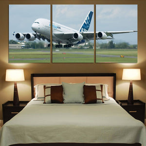 Departing Airbus A380 with Original Livery Printed Canvas Posters (3 Pieces) Aviation Shop
