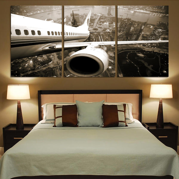 Departing Aircraft & City Scene behind Printed Canvas Posters (3 Pieces)