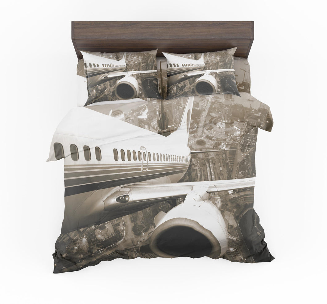 Departing Aircraft & City Scene behind Designed Bedding Sets