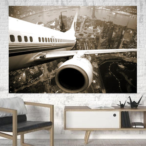 Departing Aircraft & City Scene behind Printed Canvas Posters (1 Piece)