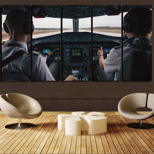 Departing Aircraft's Cockpit Printed Canvas Prints (5 Pieces) Aviation Shop