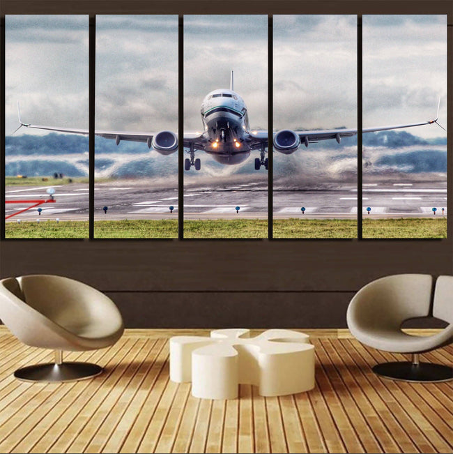 Departing Boeing 737 Printed Canvas Prints (5 Pieces) Aviation Shop