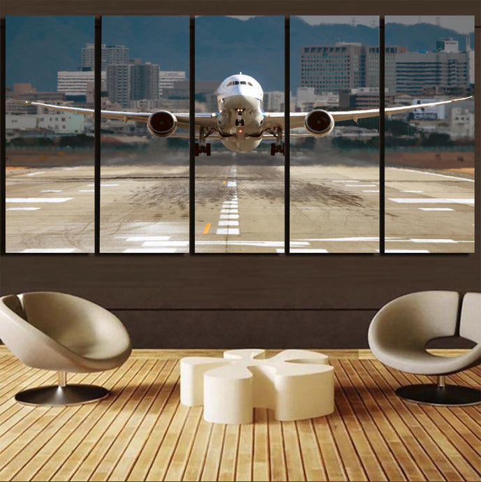 Departing Boeing 787 Dreamliner Printed Canvas Prints (5 Pieces)