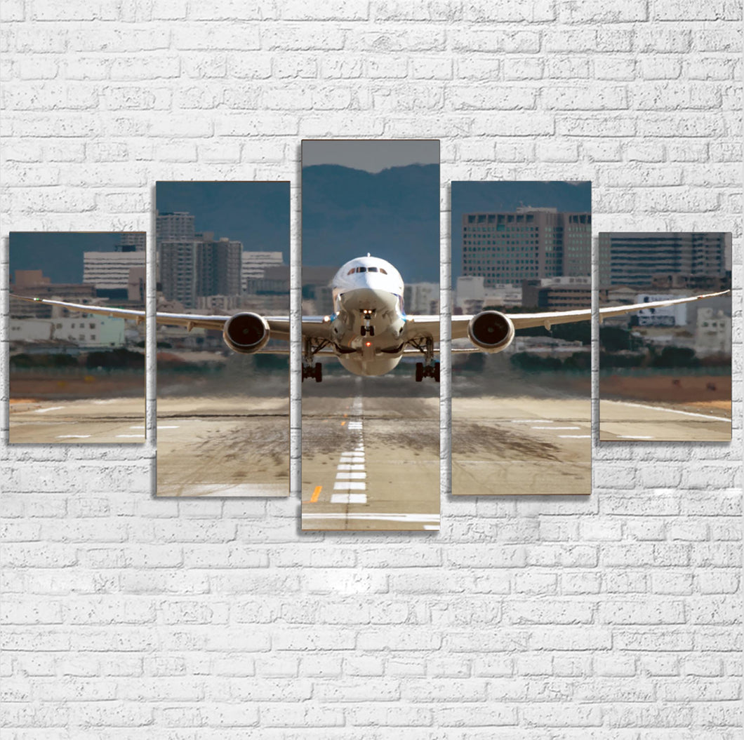 Departing Boeing 787 Dreamliner Printed Multiple Canvas Poster