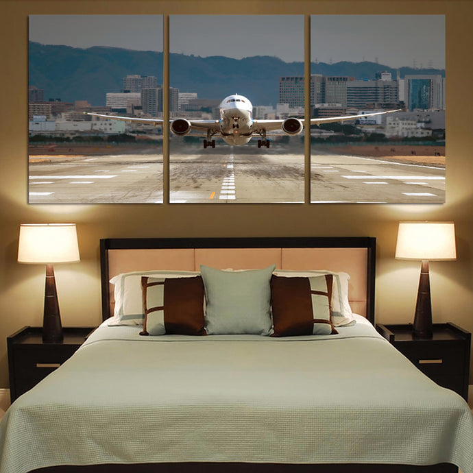 Departing Boeing 787 Dreamliner Printed Canvas Posters (3 Pieces)