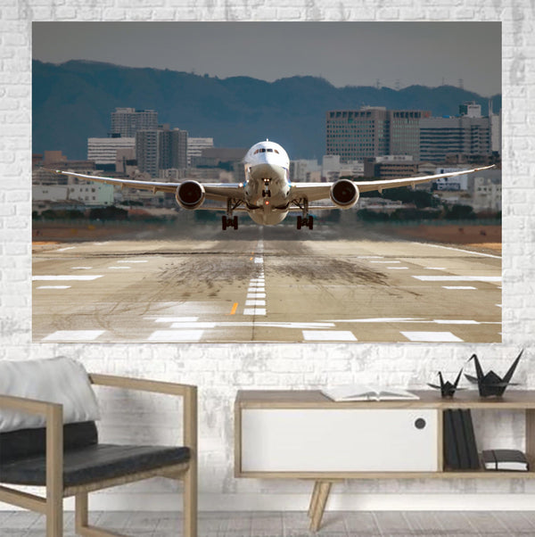 Departing Boeing 787 Dreamliner Printed Canvas Posters (1 Piece)