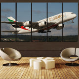 Departing Emirates A380 Printed Canvas Prints (5 Pieces) Aviation Shop