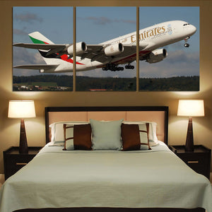 Departing Emirates A380 Printed Canvas Posters (3 Pieces) Aviation Shop