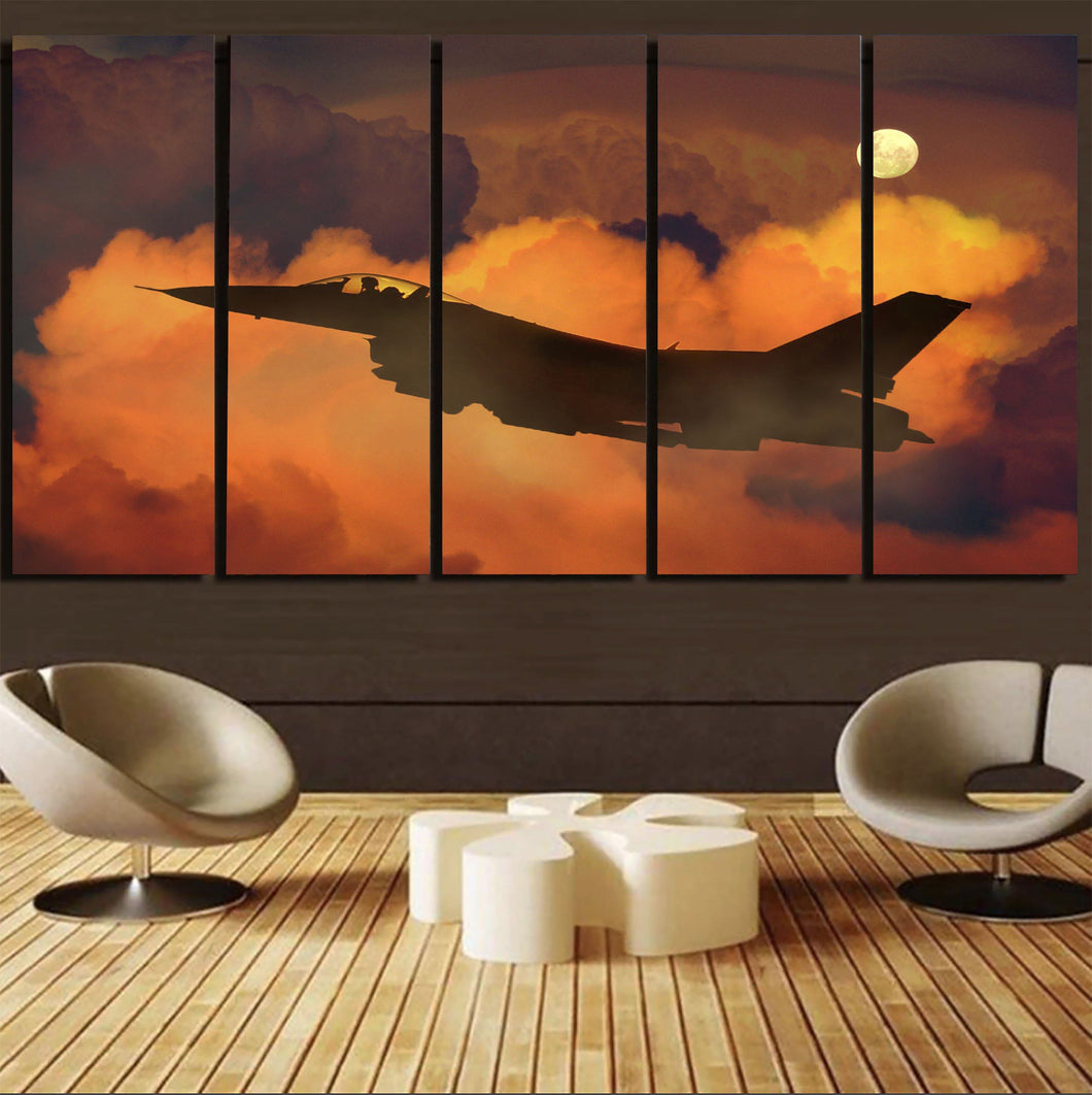 Departing Fighting Falcon F16 Printed Canvas Prints (5 Pieces) Aviation Shop