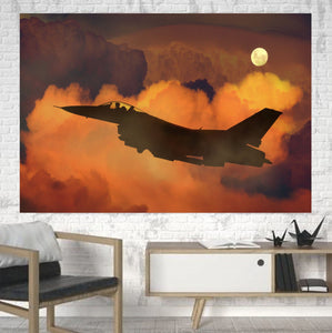 Departing Fighting Falcon F16 Printed Canvas Posters (1 Piece) Aviation Shop