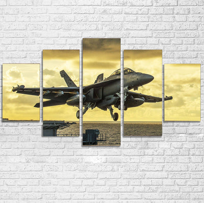 Departing Jet Aircraft Printed Multiple Canvas Poster