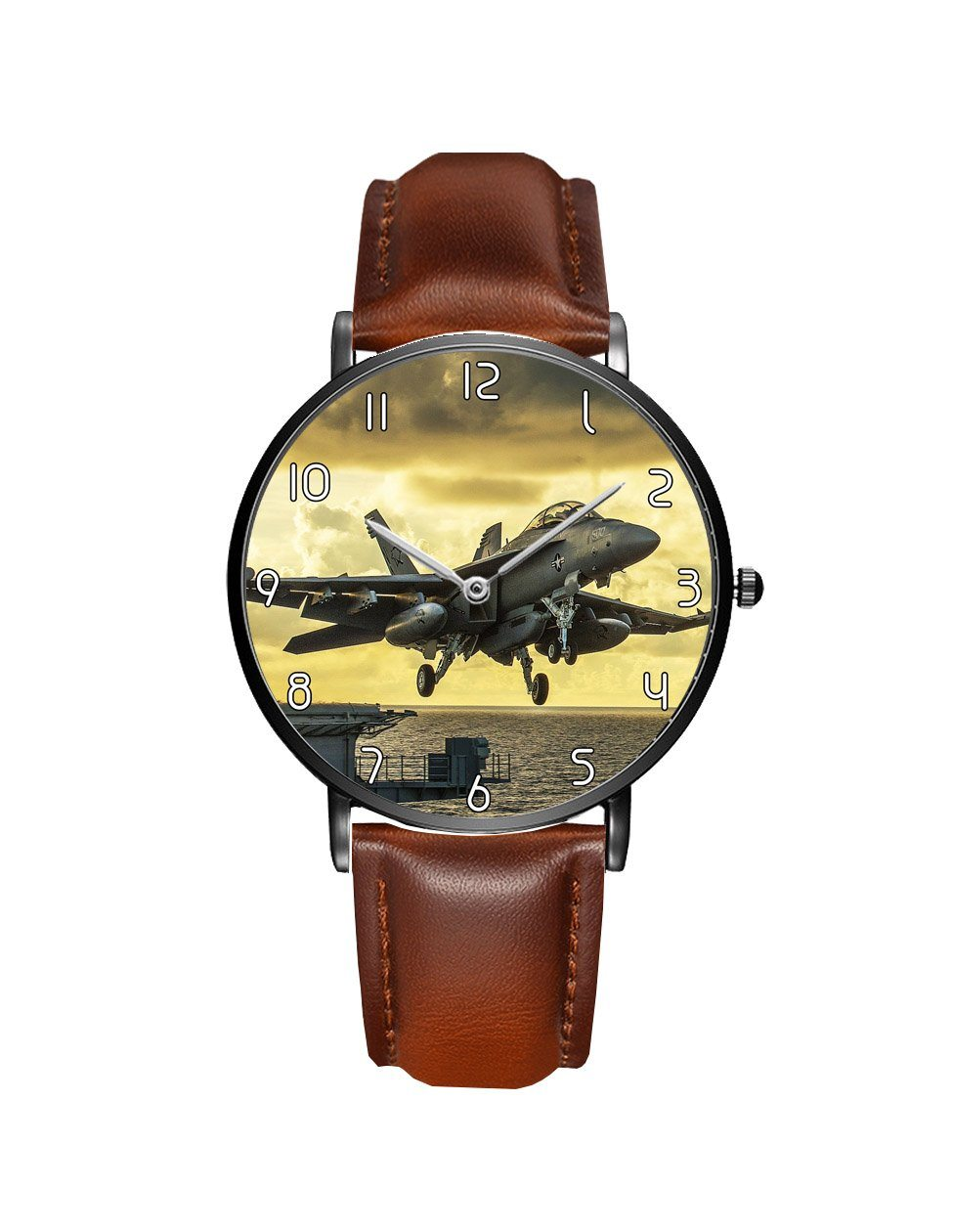 Departing Jet Aircraft Printed Leather Strap Watches Aviation Shop Black & Brown Leather Strap