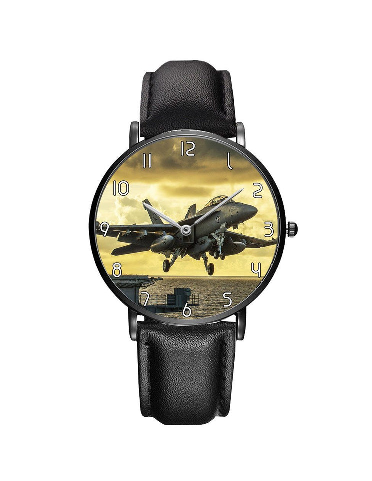 Departing Jet Aircraft Printed Leather Strap Watches Aviation Shop Black & Black Leather Strap