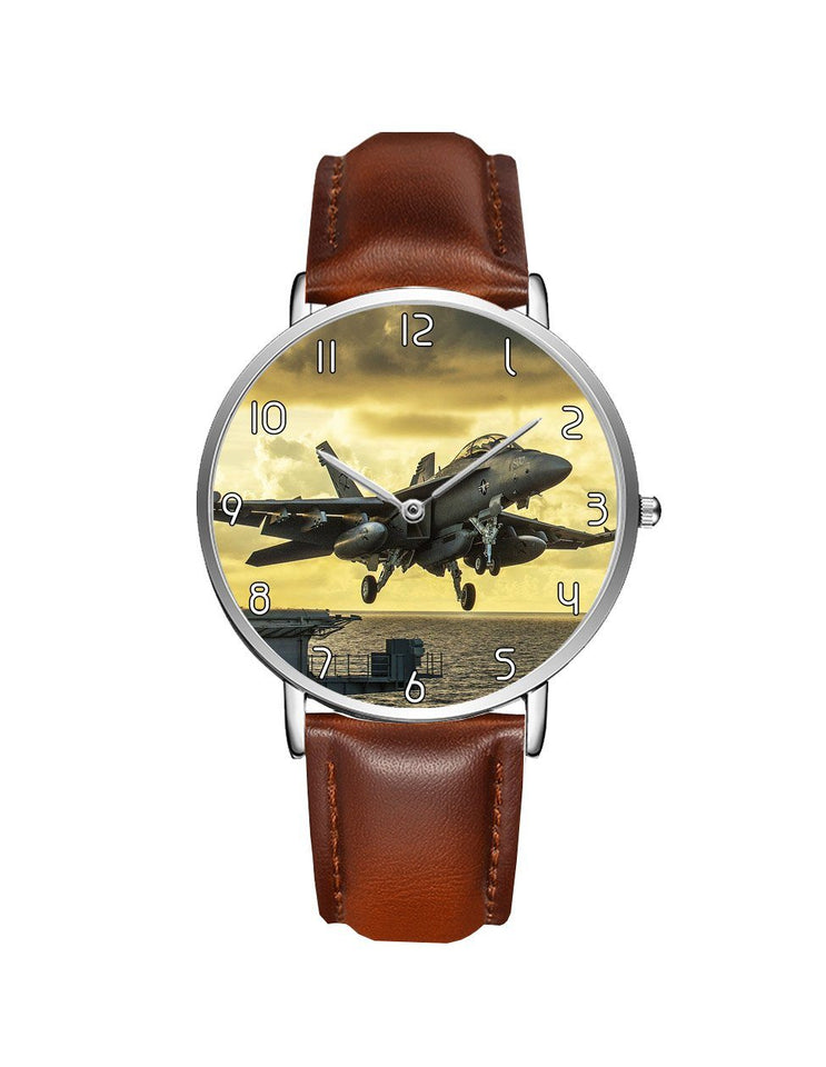 Departing Jet Aircraft Printed Leather Strap Watches Aviation Shop Silver & Brown Leather Strap