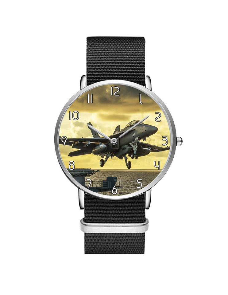Departing Jet Aircraft Printed Leather Strap Watches Aviation Shop Silver & Black Nylon Strap
