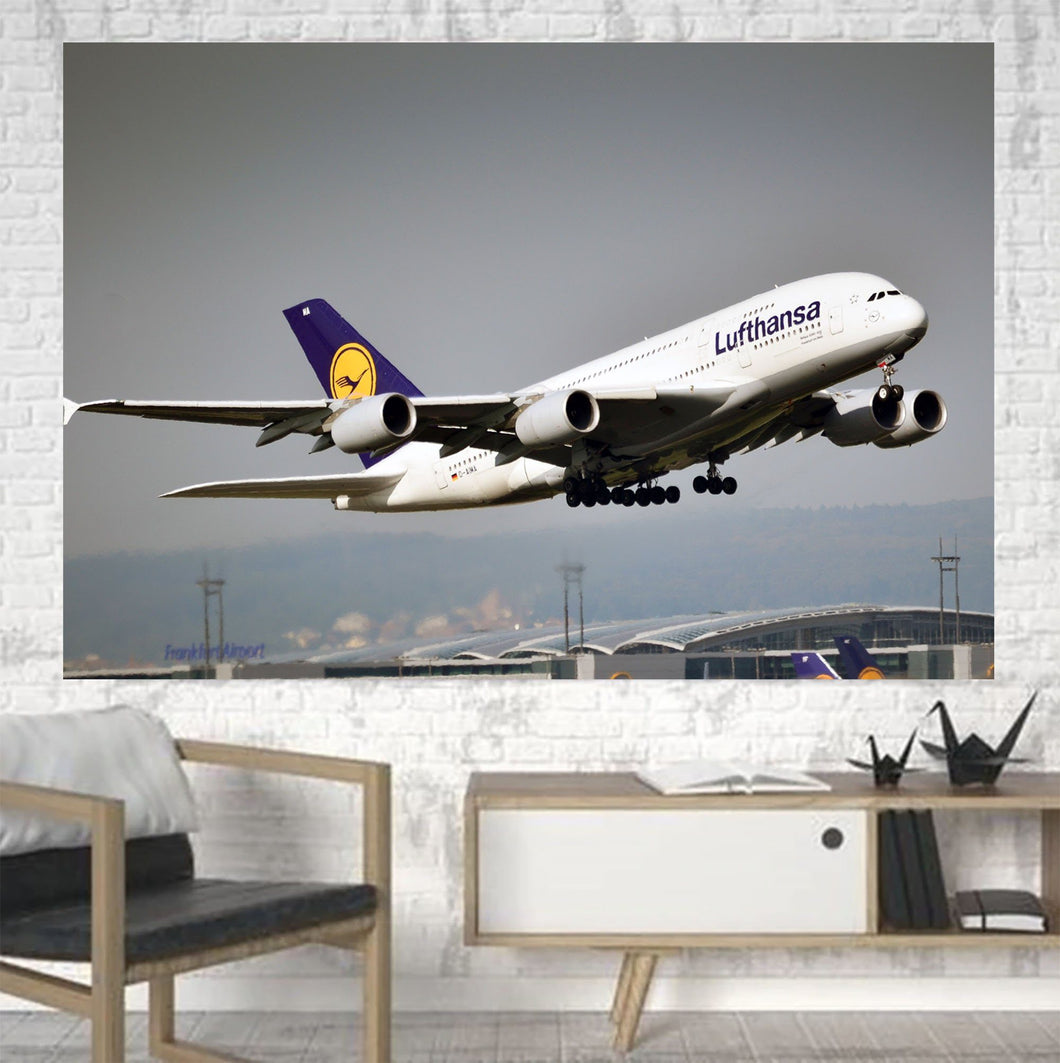 Departing Lufthansa's A380 Printed Canvas Posters (1 Piece) Aviation Shop