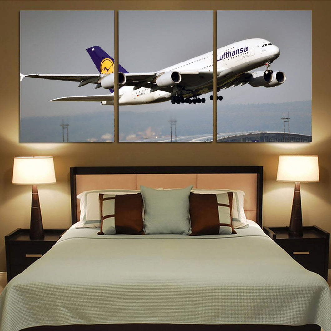 Departing Lufthansa's A380 Printed Canvas Posters (3 Pieces) Aviation Shop