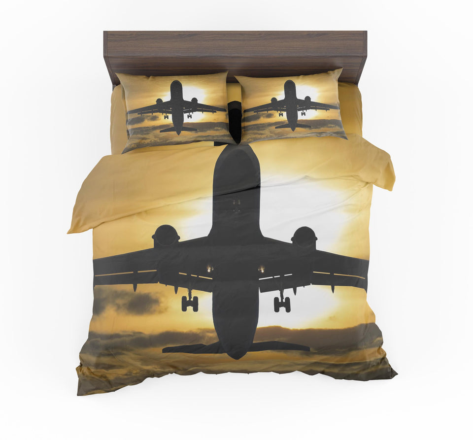 Departing Passanger Jet During Sunset Designed Bedding Sets