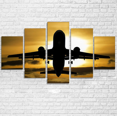 Departing Passenger Jet During Sunset Printed Multiple Canvas Poster