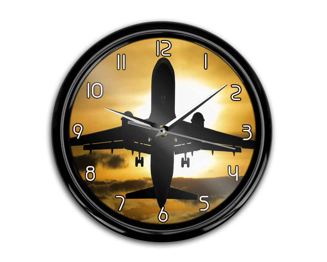 Departing Passanger Jet During Sunset Printed Wall Clocks Aviation Shop