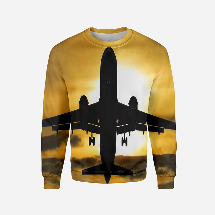 Departing Passanger Jet During Sunset Printed 3D Sweatshirts
