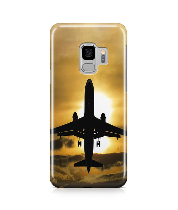 Departing Passanger Jet During Sunset Printed Samsung J Cases