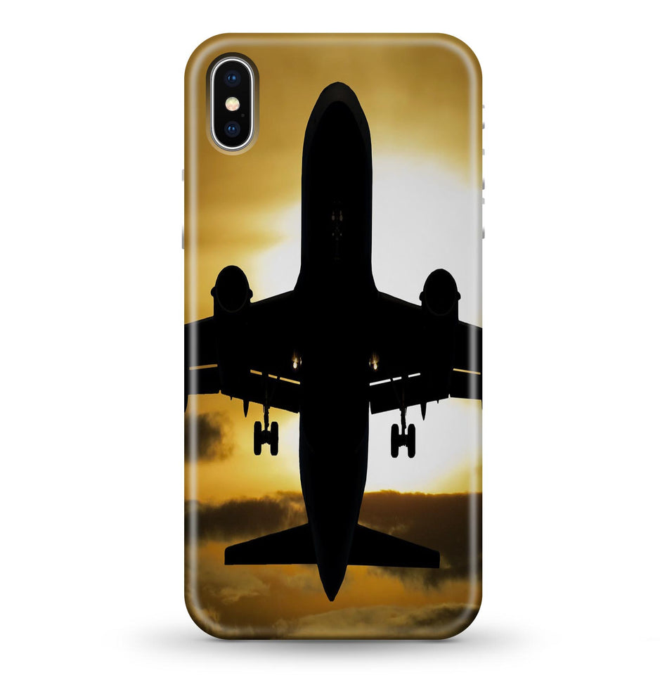 Departing Passanger Jet During Sunset Printed iPhone Cases