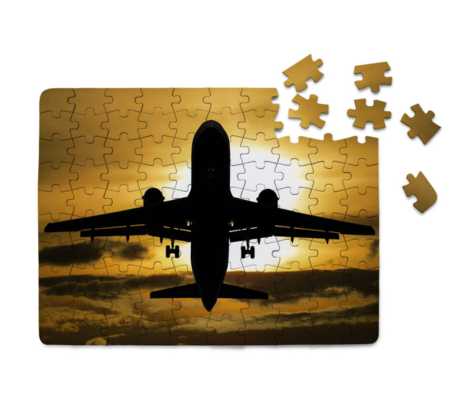 Departing Passenger Jet During Sunset Printed Puzzles Aviation Shop