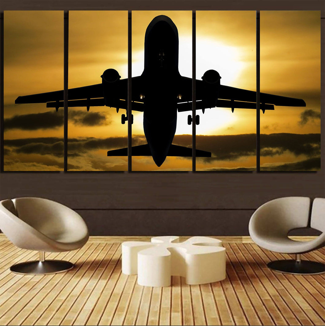 Departing Passenger Jet During Sunset Printed Canvas Prints (5 Pieces) Aviation Shop