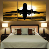 Departing Passenger Jet During Sunset Printed Canvas Posters (3 Pieces)