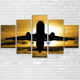 Departing Passenger Jet During Sunset Printed Multiple Canvas Poster Aviation Shop