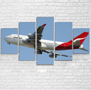 Departing Qantas Boeing 747 Printed Multiple Canvas Poster Aviation Shop