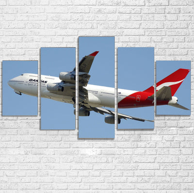 Departing Qantas Boeing 747 Printed Multiple Canvas Poster