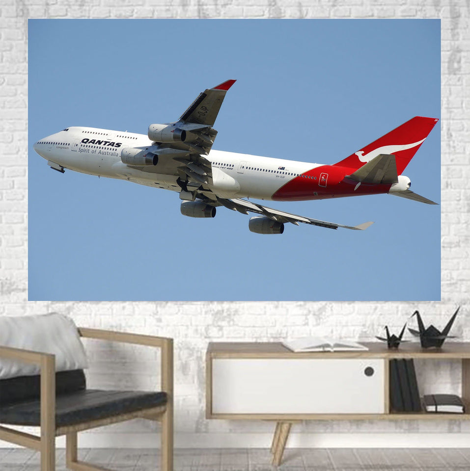Departing Qantas Boeing 747 Printed Canvas Posters (1 Piece) Aviation Shop