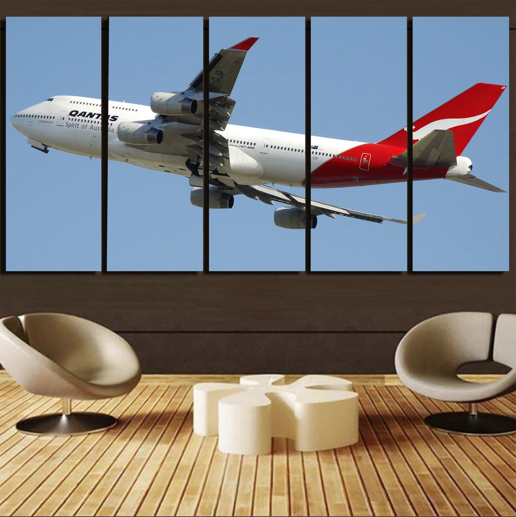 Departing Qantas Boeing 747 Printed Canvas Prints (5 Pieces) Aviation Shop