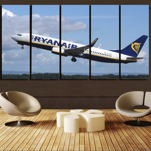 Departing Ryanair's Boeing 737 Printed Canvas Prints (5 Pieces) Aviation Shop