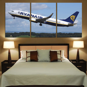 Departing Ryanair's Boeing 737 Printed Canvas Posters (3 Pieces) Aviation Shop