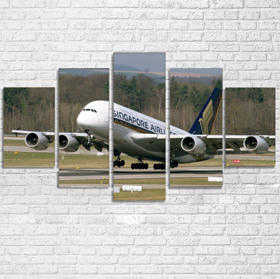 Departing Singapore Airlines A380 Printed Multiple Canvas Poster
