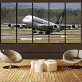 Departing Singapore Airlines A380 Printed Canvas Prints (5 Pieces) Aviation Shop
