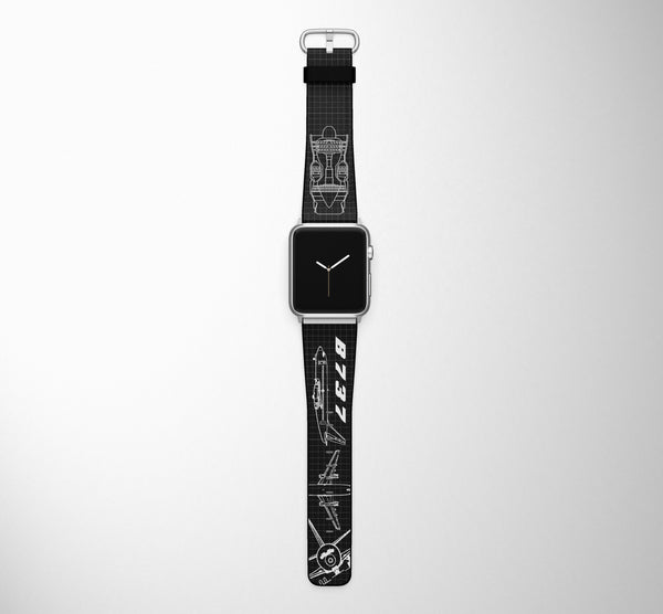 Detailed Boeing 737 Designed Leather Apple Watch Straps
